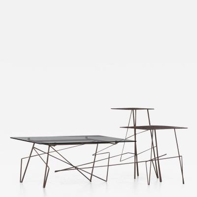 Renato Bassoli Renato Bassoli Welded Steel and Glass Coffee Table