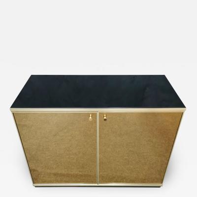 Renato Zevi Buffet Cabinet Brass Mirror by Renato Zevi Italy 1970s