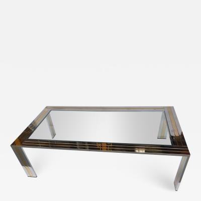 Renato Zevi Coffee Table Metal Chrome and Brass by Renato Zevi Italy 1970s