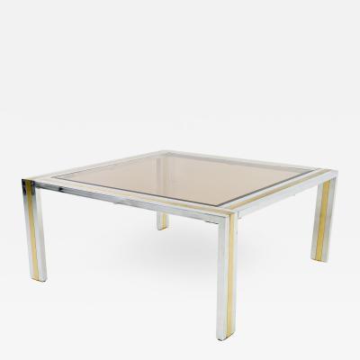 Renato Zevi Italian Mid Century Chrome Brass and Glass Coffee Table