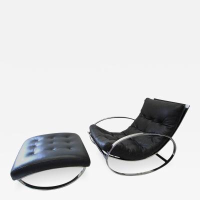 Renato Zevi Renato Zevi Ellipse Chair and Ottoman in the Style of Milo Baughman