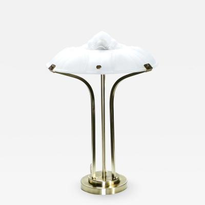 Rene Lalique Art deco brass and frosted glass lamp 1940s