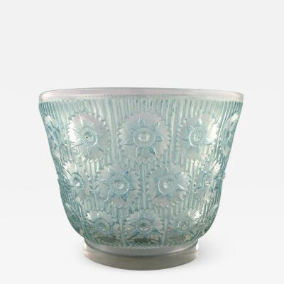 Rene Lalique Early large Edelweiss bowl in turquoise art glass decorated with flowers