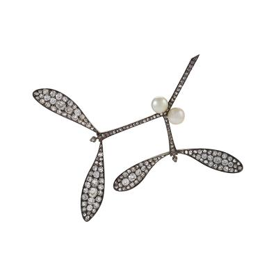 Rene Lalique Mistletoe Brooch Attributed to Vever for Lalique