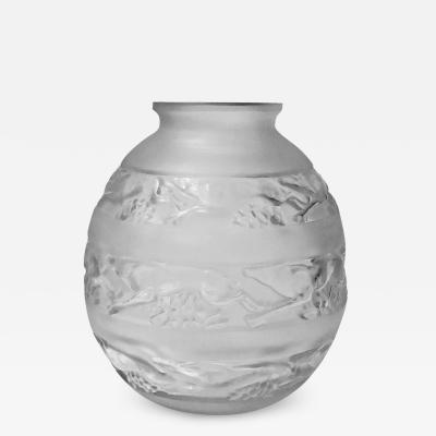 Rene Lalique Ren Lalique 1930s Ren Lalique Signed Vase Soudan Pattern