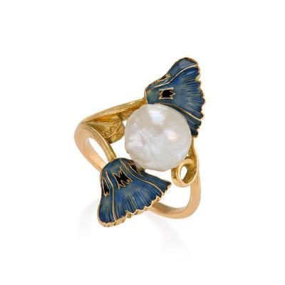 Rene Lalique Ren Lalique French Art Nouveau Pearl Gold and Enamel Ring