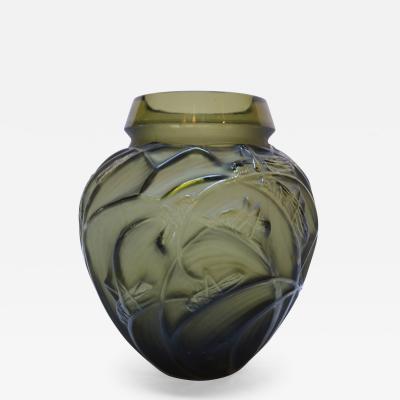 Rene Lalique Rene Lalique 1930s Sauterelles Grasshopper Glass Vase