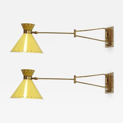 Rene Mathieu Pair of Swing Arm Sconces by Rene Mathieu for Lunel