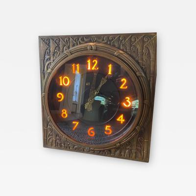 Rene Paul Chambellan ART DECO STYLIZED FLORA ILLUMINATED BRONZE WALL CLOCK