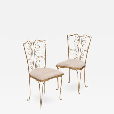 Rene Prou French 1940s Gilt Side Chairs