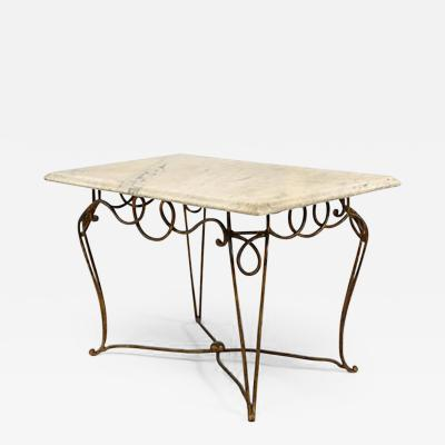 Rene Prou French 1940s Gold Painted Iron Rectangular Coffee Table