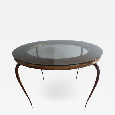 Rene Prou French Mid Century Modern Round Gilt Iron Coffee Table by Rene Prou 1940