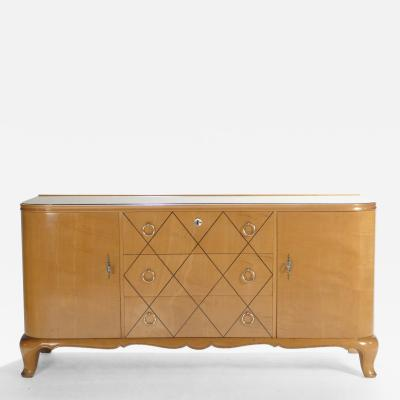 Rene Prou Mid century Ren Prou sycamore brass sideboard commode 1940s