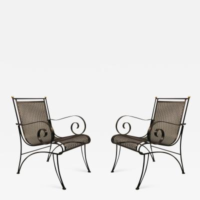 Rene Prou Midcentury Partial Gilt Wrought Iron Lounge Chairs Attributed to Ren Prou Pair