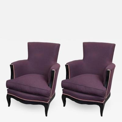 Rene Prou Pair of Art Deco Armchairs by Ren Prou