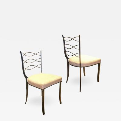 Rene Prou Pair of chairs in iron by R Prou