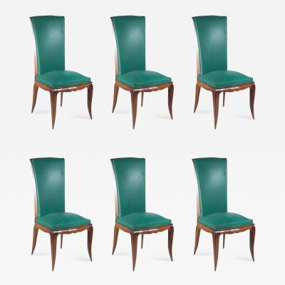 Rene Prou Ren Prou Set of Six Dining Chairs in Beech