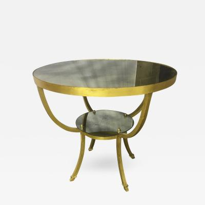 Rene Prou Rene Prou Charming 2 Tier Gold Leaf Wrought Iron Center or Dining Table