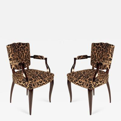 Rene Prou Rene Prou Pair of Open Sided Armchairs
