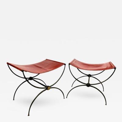 Rene Prou Rene Prou Pair of X Stools in Wrought Iron and Red Hermes Color Leather