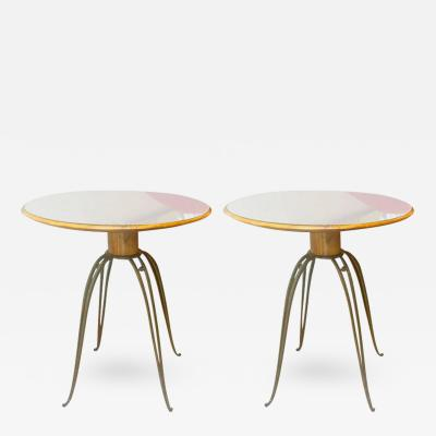 Rene Prou Rene Prou Rare Refined Pair of Side Table in Sycamore and Gold Leaf Wrought Iron