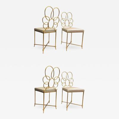 Rene Prou Rene Prou Rare Superb Witty Four Flower Gold Leaf Wrought Iron Chairs in Silk