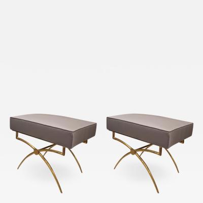 Rene Prou Rene Prou gold leaf wrought iron base pair of X stools