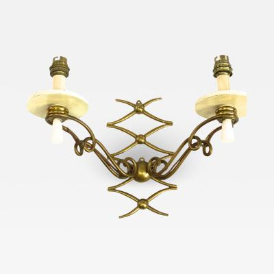 Rene Prou Rene Prou pair of gold bronze refined sconces