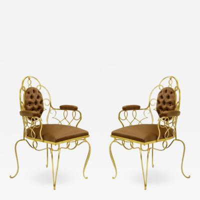 Rene Prou Rene Prou pair of gold leaf wrought iron arm chairs