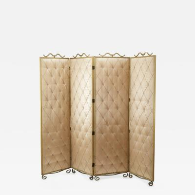 Rene Prou Rene Prou pale rose 4 fold room screen with gold leaf wrought iron accent