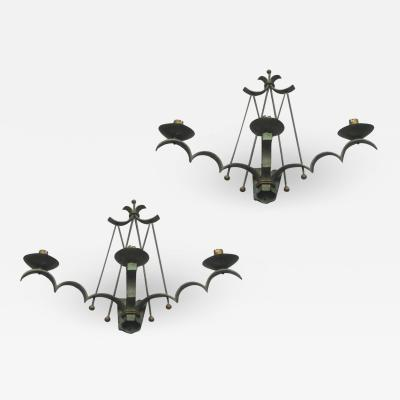 Rene Prou Rene Prou refined pair of wrought iron 3 light sconces