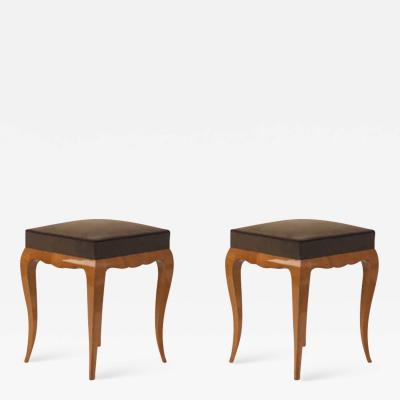 Rene Prou Rene Prou refined solid sycamore pair of stools