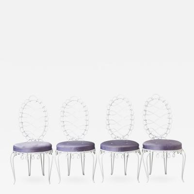 Rene Prou Set of 4 Ren Prou Fer Forg Rond Iron Side Chairs France 1940s