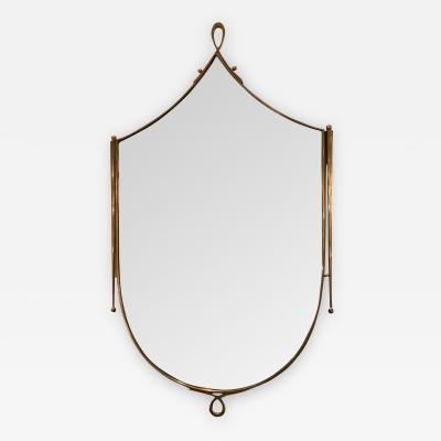 Rene Prou Shield Shaped Mid Century Wall Mirror in the style of Rene Prou