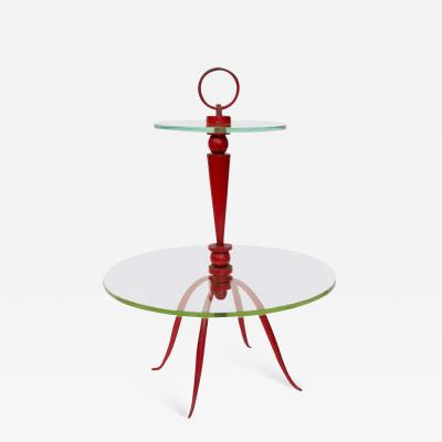 Rene Prou Small Painted Metal Cocktail Table By Ren Prou