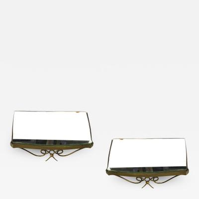 Rene Prou rene prou charming pair of mirrored gold bronze shelves or bedside