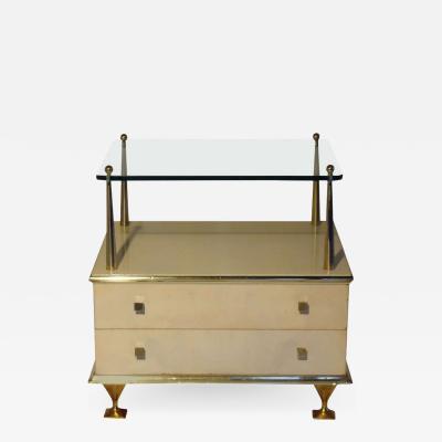 Renzo Rutili Renzo Rutili Ivory and Brass Nightstand Johnson Furniture Co circa 1950
