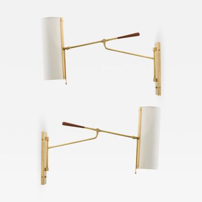 Reproduction Articulating Brass Wall Light with Linen Shade
