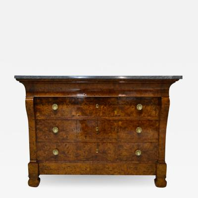 Restauration Period Burl Elm 4 drawer Commode