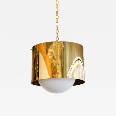 Restored Mid Century Brass Drum Pendants