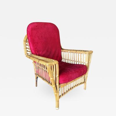 Restored Presidents Art Deco Stick Rattan Lounge Chair w Tapered Legs