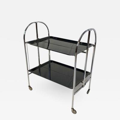 Restored mobile and foldable Art Deco serving trolley Black lacquer and Nickel