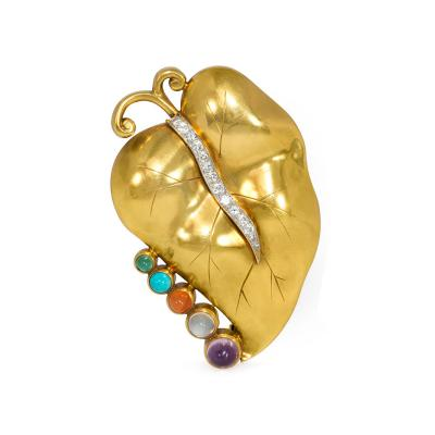 Retro 1940s Gold and Multi Gemstone Leaf Brooch