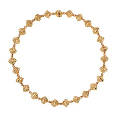 Retro 1940s Two Color Gold Fluted Bead Necklace