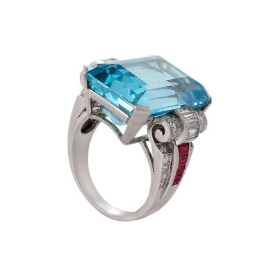 Retro Aquamarine Diamond Ruby and Platinum Ring