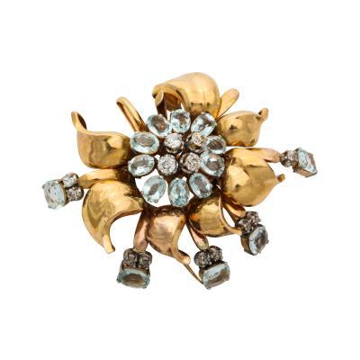 Retro Aquamarine and Diamond Gold Brooch Pin