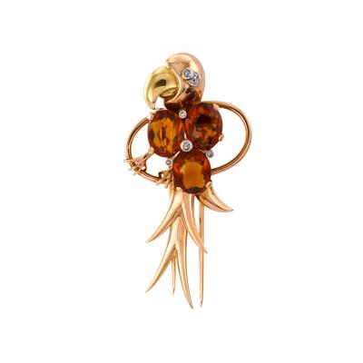 Retro Citrine And Gold Parrot Clip Brooch