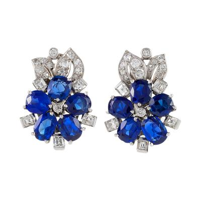 Retro Diamond Blue Sapphire and Platinum Flower Earrings