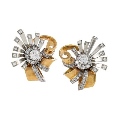 Retro Diamond Gold and Platinum Flower Earrings