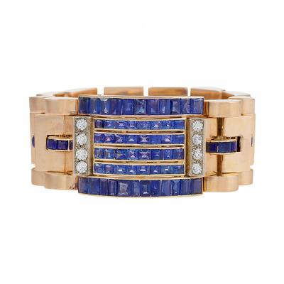 Retro Diamond Sapphire and Gold Bracelet